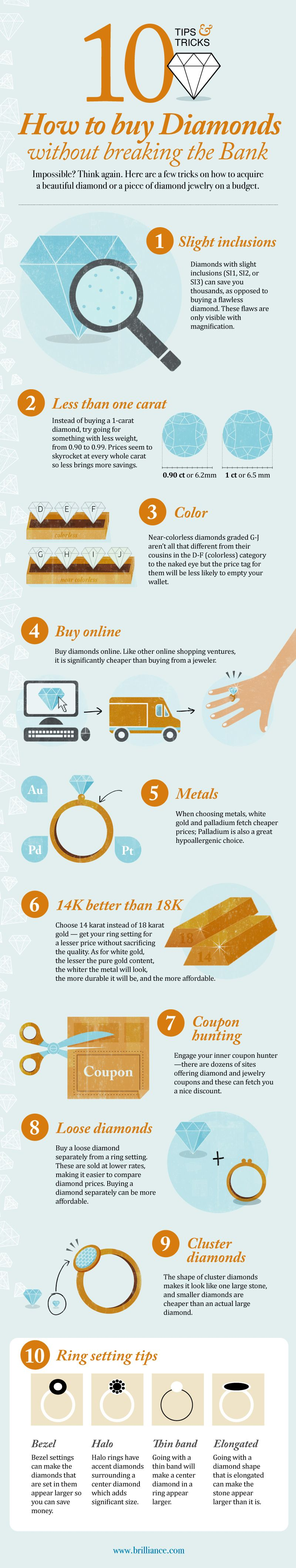 Infographics: 10 advices for buying Diamonds without breaking the Bank